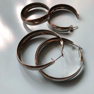 Jewelry - 2 Pairs Silver Plated Hoop Earrings